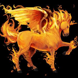 winged unicorn fire element
